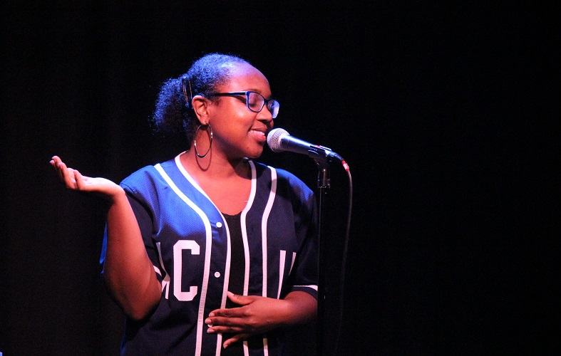 Shaniqua Benjamin performing her first commission as Croydon's Poet Laureate.