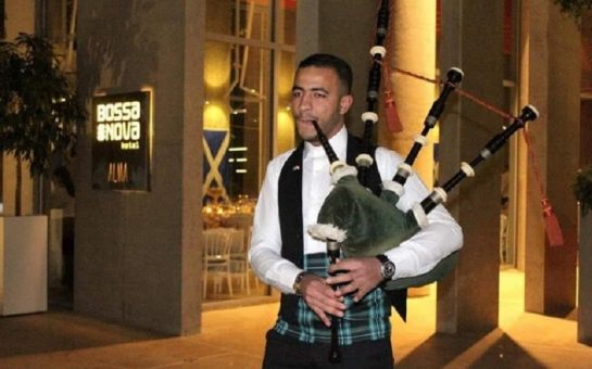 Mustapha Dakhloul playing his bagpipes