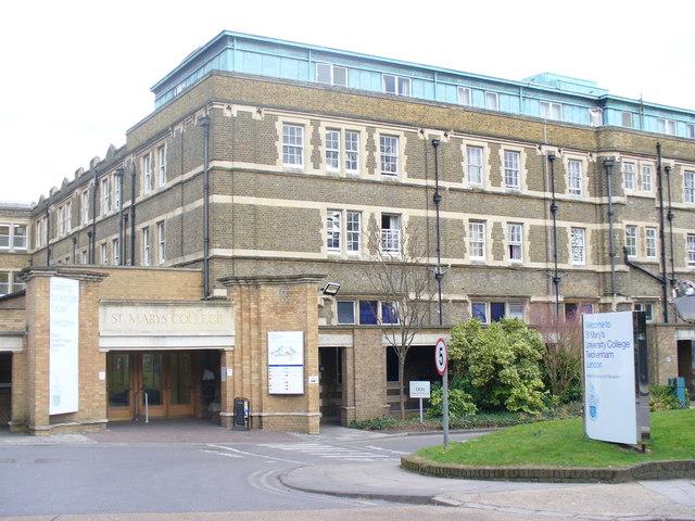 Main entrance to St. Mary's University in Twickenham, London