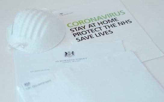 coronavirus mask and letter