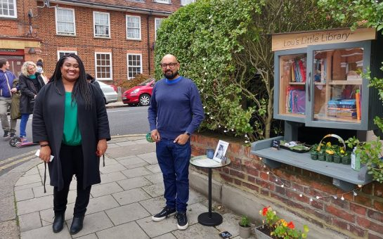 exterior of lou's little library with the widow Mr Prabatani and Streatham MP Bell Ribeiro-Addy