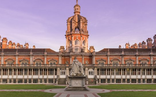 Exterior of Royal Holloway Campus at sunset