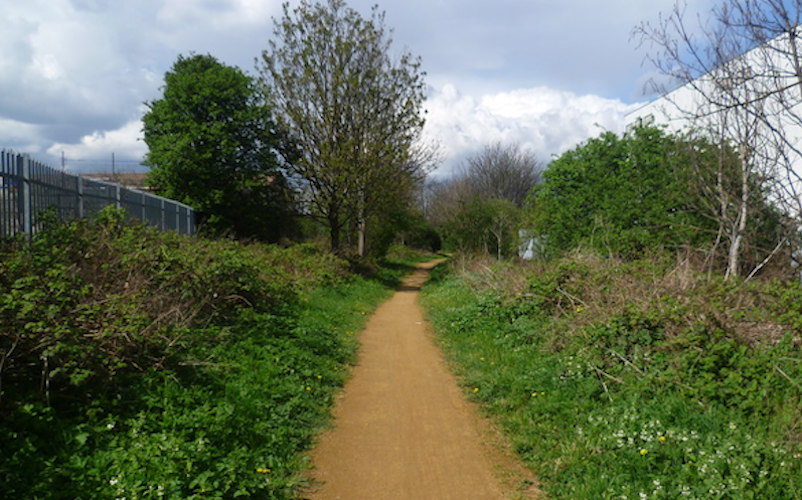 A section of the Wandle Trail near Earslfield and Plough Lane. Copyright to user Marathon at Geograph.org.uk
