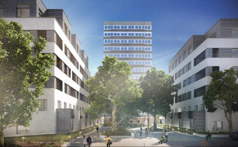 CGI image of the Surrey Lane regeneration scheme showing the new and old blocks.
