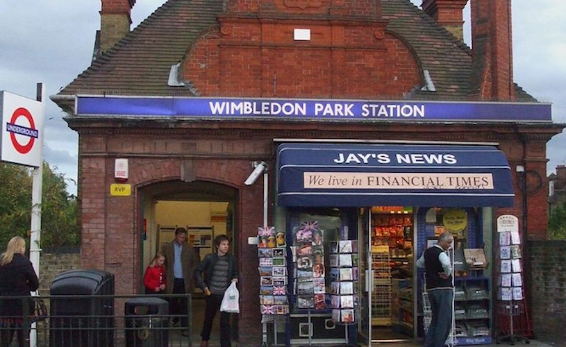 A photo of the outside of Wimbledon Park station. Credited to Wikipedia author Sunil060902