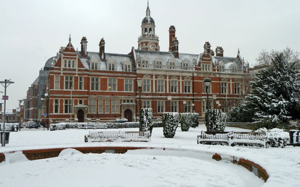 Croydon Town Hall in the snow