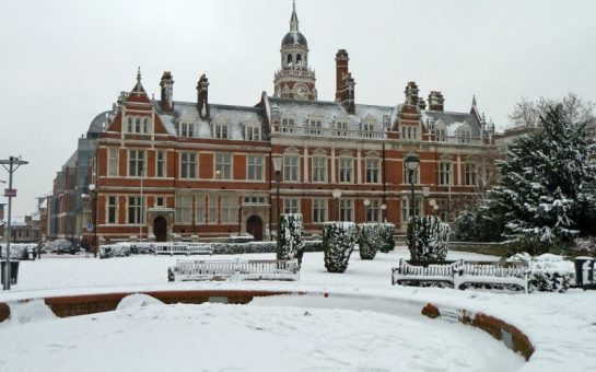 Croydon Town Hall in the snow