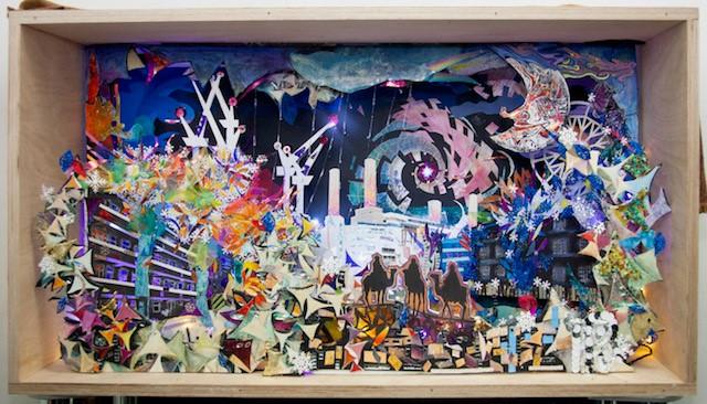 Nine Elms giant advent calendar illuminated window