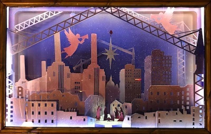 Giant advent calendar window illumination in Nine Elnms