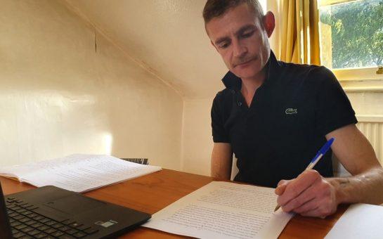 Author Joe working on his novel
