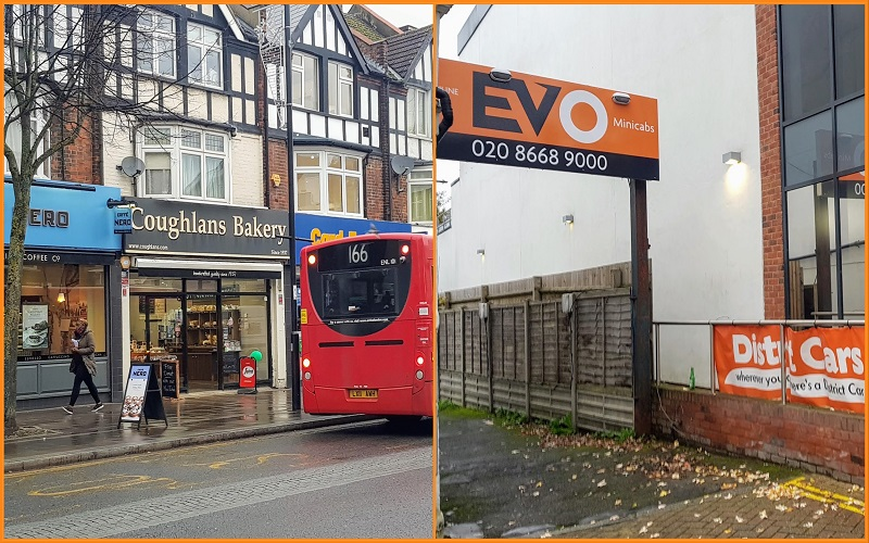 A collage image of Coughlans Bakery and District Evo Cars in Coulsdon