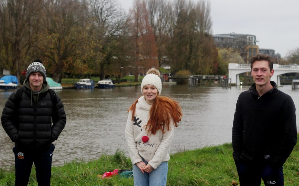 Ioan, Becca and Sam, second-year students from St. George's, after their first Thames swim in November