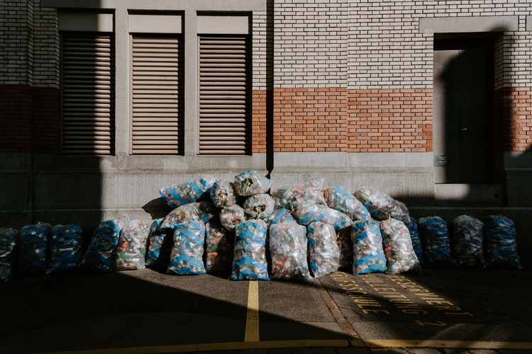 Bags of clothes discarded as rubbish