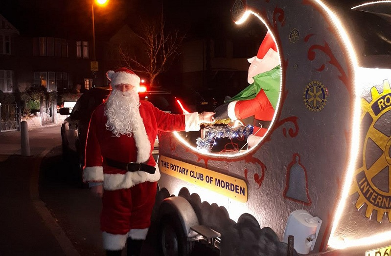 lower morden santa with his sleigh