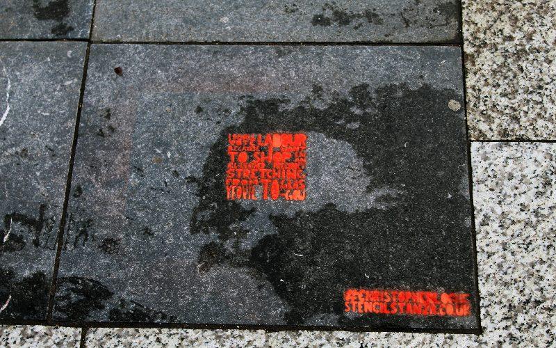 'I shall vote Labour' street art instillation