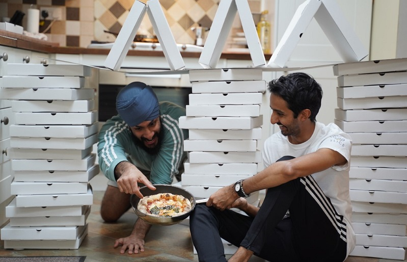 share a slice with their donated pizza
