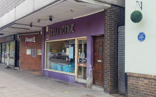 Thai restaurant Thai Venue in Coulsdon with its purple front and silver sign