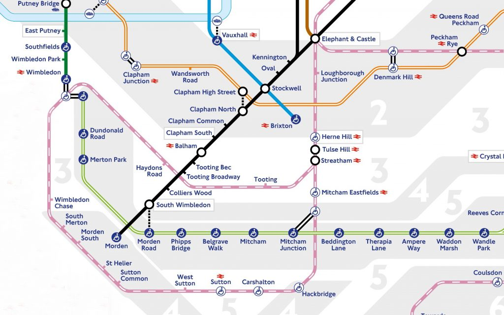 A tube map cropped to show the Sutton Loop. Unusually, the tube map shows the Thameslink route.