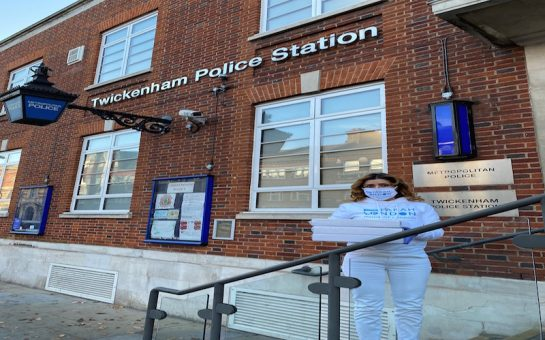 Farah London at Twickenham Police station
