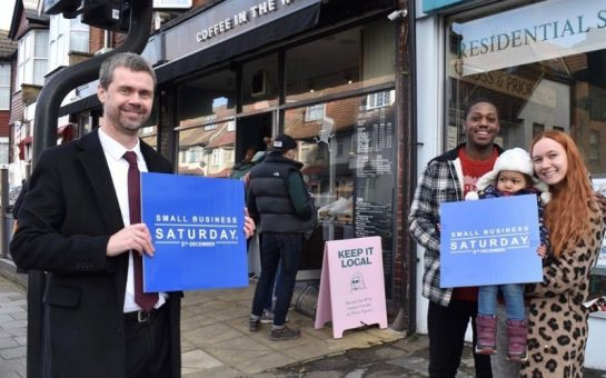 mark allison merton council leader outside shops on small business saturday