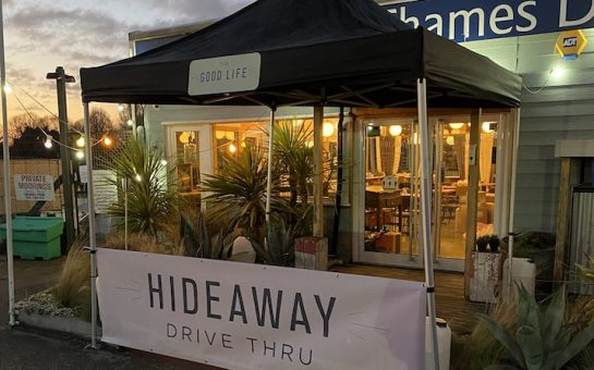 hideaway surbiton with its drive thru counter set up outside.
