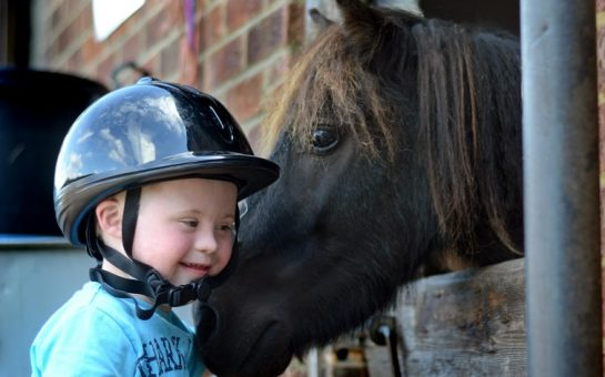 A child and horse at Park lane Stables