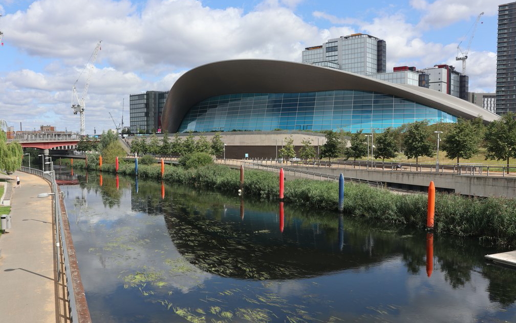 The London Aquatics Centre, once referred to as The Stingray, next to the River Lea in Stratford.