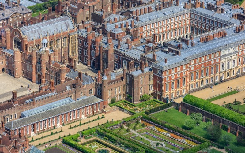Hampton Court Palace exterior with gardens