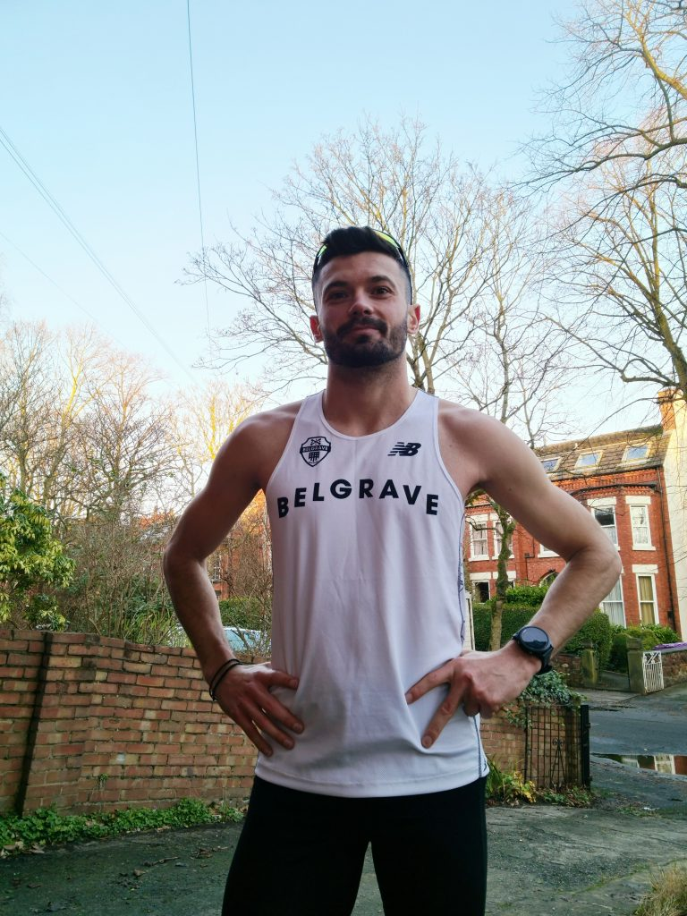Non-elite triathlete Konstantinos Touse in Belgrave Harriers vest