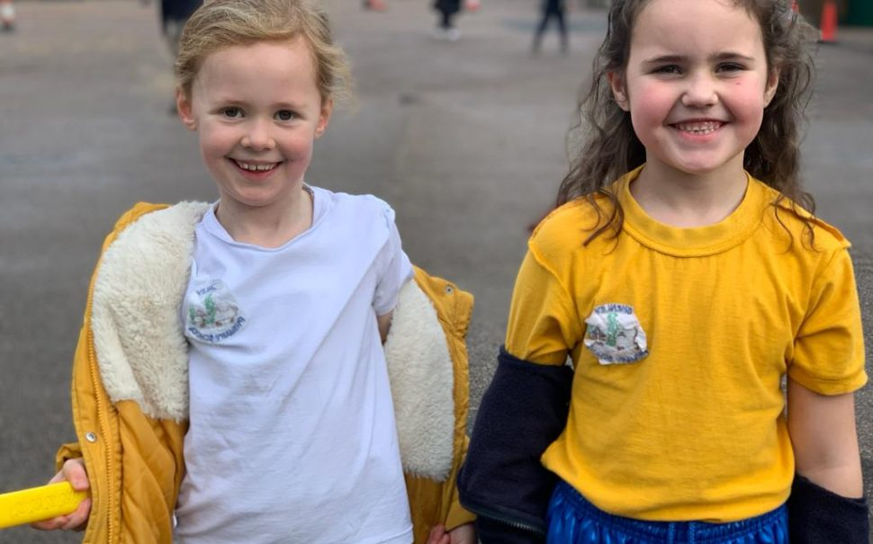 Shenley Primary School children wearing their tops inside out