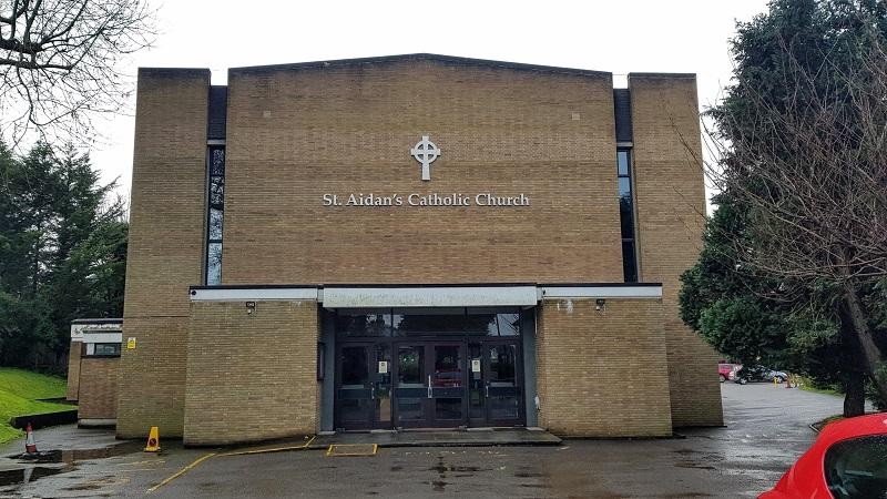 Exterior shot of St. Aidan's Catholic Church on Portnalls Road, Coulsdon.
