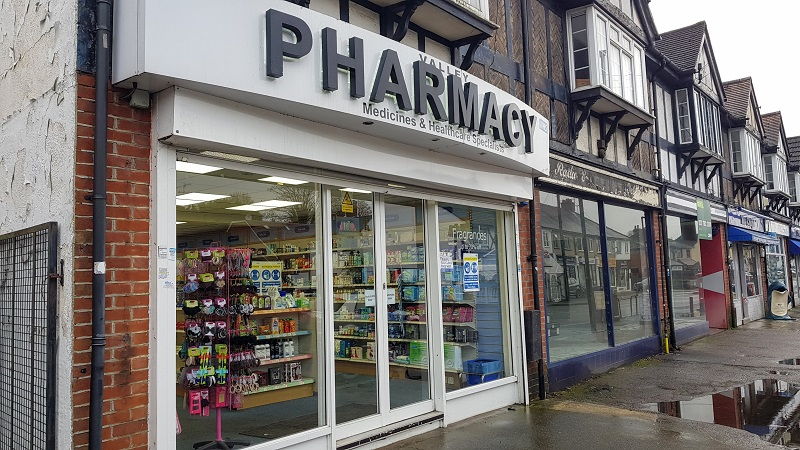 Exterior shot of Valley Pharmacy, Coulsdon