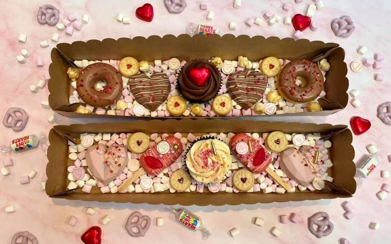 two boxes of valentines inspired baked goods