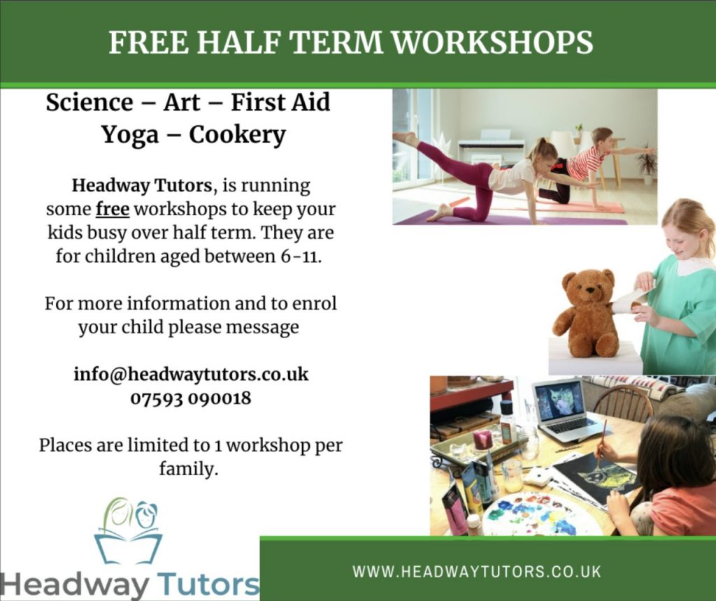 Richmond tutoring company Headway offers their half term workshops by poster