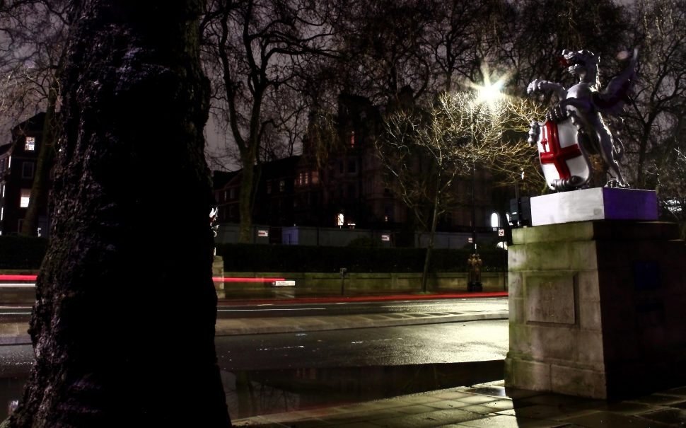 The City of London dragon atop a plinth