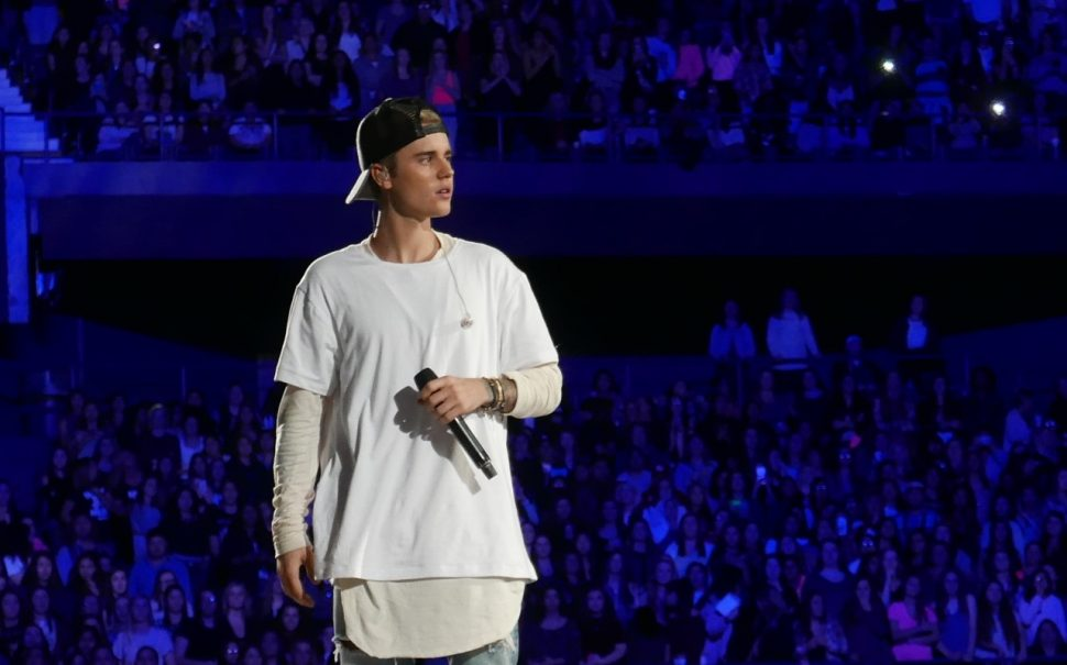 justin bieber on a stage