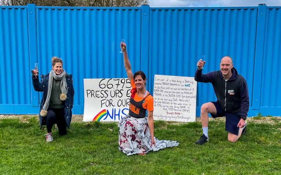 the twickenham trio celebrate their final press-ups