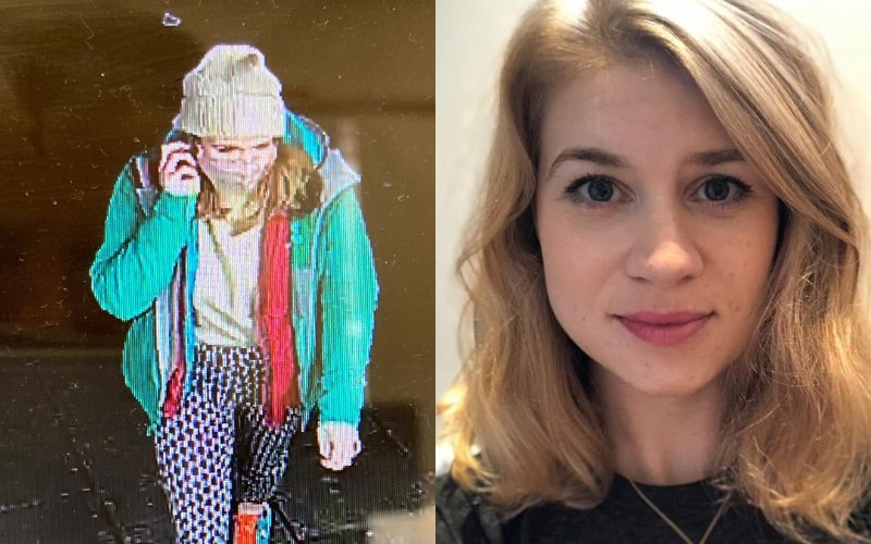 Photos of missing person Sarah Everard, blonde hair wearing a green coat, white beanie and blue trousers