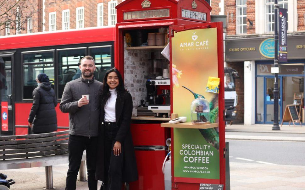 Lore Mejia, 28, and Sean Rafferty, 31 with their telephone box turned coffee shop in Twickenham
