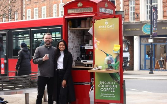 Lore Mejia, 28, and Sean Rafferty, 31 with their telephone box turned coffee shop in Twickenham