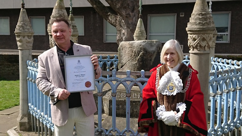 Andrew White, ex-homeless man wins award from the Mayor of Kingston for volunteering over the pandemic.