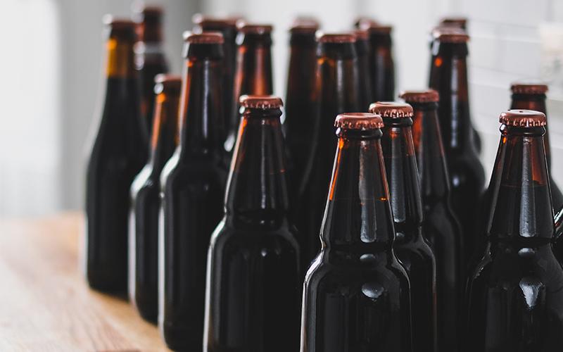 craft beer bottles on shelf