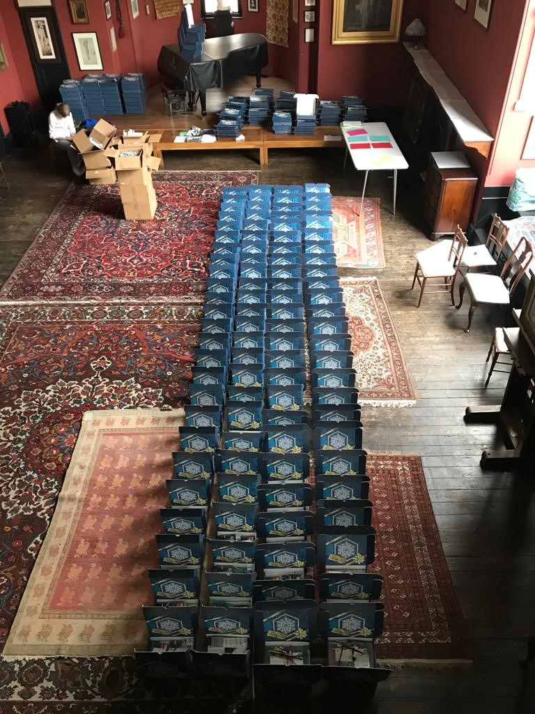 250 creativity boxes are laid out in Leighton House's main studio, repressing the scale of the project.