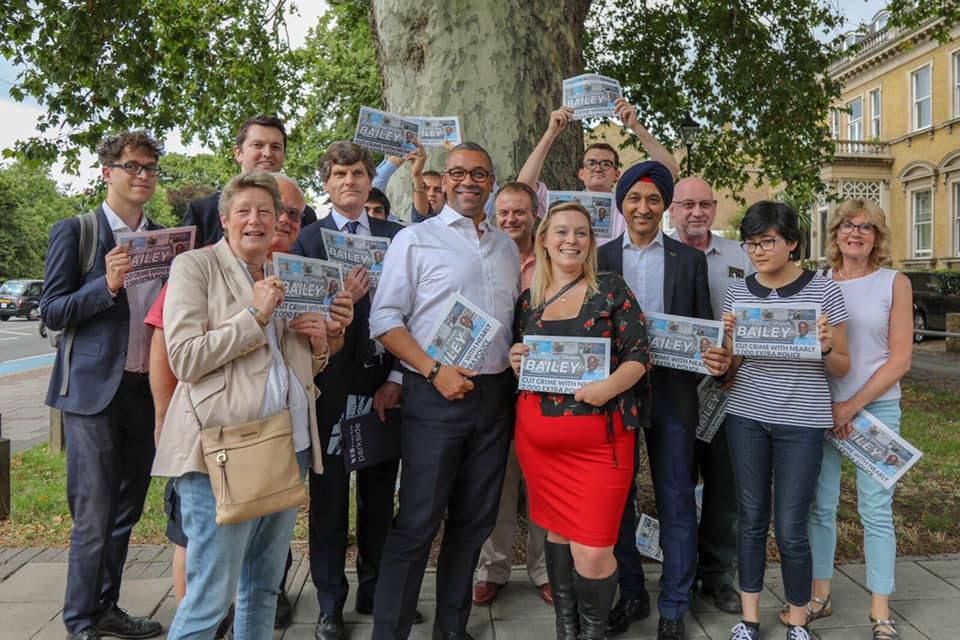 conservative campaigners grouped together for a picture holding flyers promoting mayoral candidate Shaun Bailey