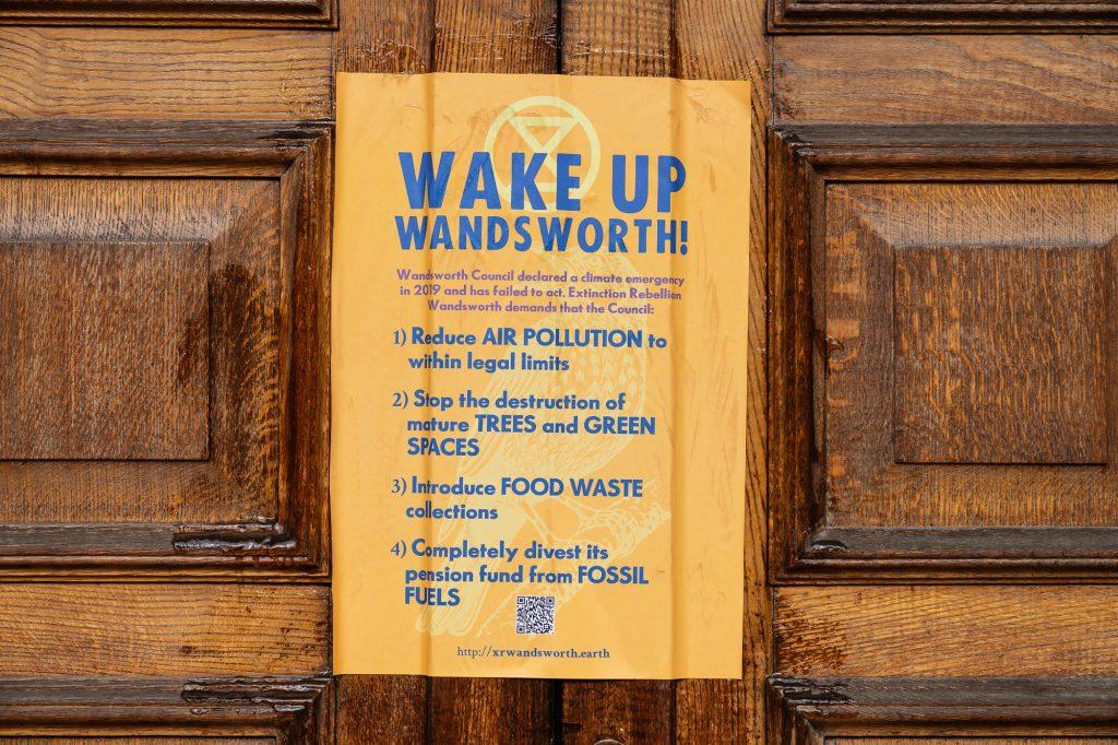 Poster on Wandsworth Council's door