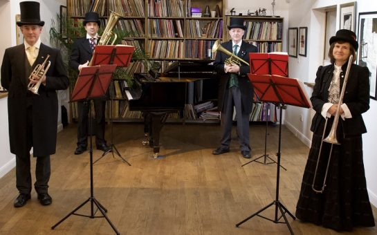 Victorian themed quartet ready to perform for concert