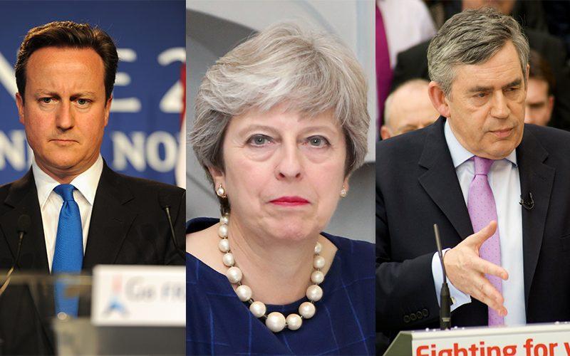 David Cameron, Theresa may, and Gordon Brown
