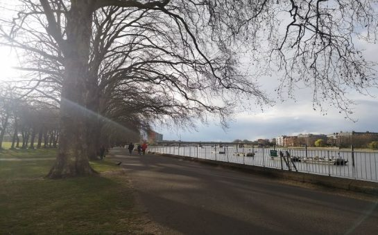 Riverside walk way in Wandsworth Park where many Wandsworth residents walk, cycle, jog and commute through