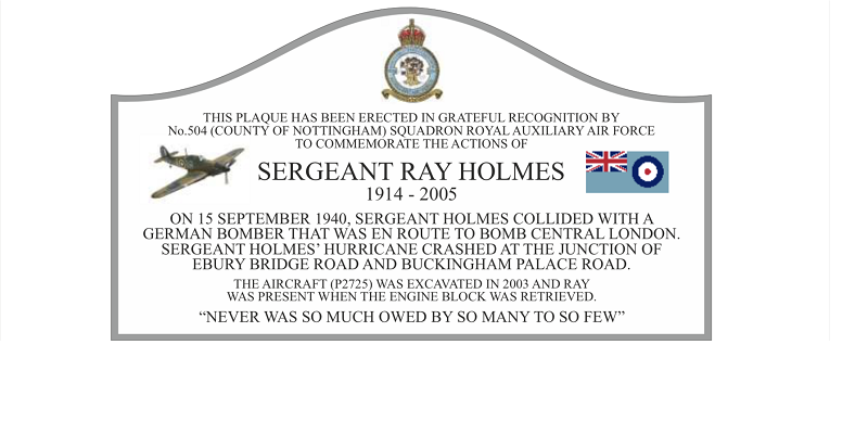 Detail of a commemorative plaque honouring Sgt Ray Holmes and his famous ramming.