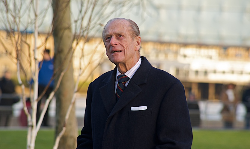 Prince Phillip looks at sky